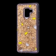 "Чехол для Samsung Galaxy A8 2018 (A530) вода золотистый ""корона и бриллиант"""