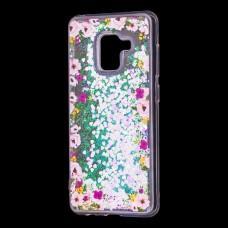 """Чехол для Samsung Galaxy A8 2018 (A530) вода светло-розовый """"цветы"""""""