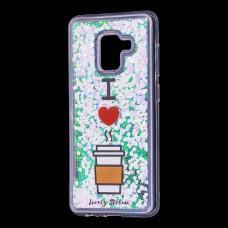 """Чехол для Samsung Galaxy A8 2018 (A530) вода светло-розовый """"я люблю кофе"""""""