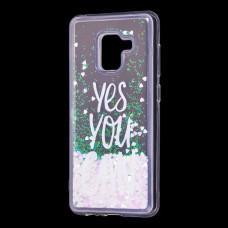 "Чехол для Samsung Galaxy A8 2018 (A530) вода светло-розовый ""yes you can"""