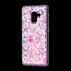 """Чехол для Samsung Galaxy A8 2018 (A530) вода розовый """"розовые цветы"""""""