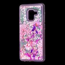 """Чехол для Samsung Galaxy A8 2018 (A530) вода розовый """"розово-фиолетовые цветы"""""""""""