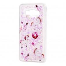 """Чехол для Samsung Galaxy J5 (J500) вода светло-розовый """"маленькие единороги"""""""