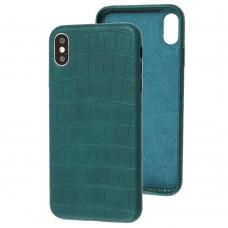 Чехол для iPhone Xs Max Leather croco full зеленый