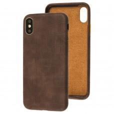 Чехол для iPhone Xs Max Leather croco full коричневый