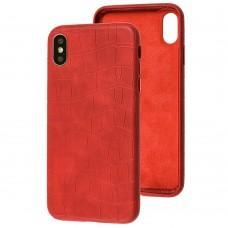 Чехол для iPhone Xs Max Leather croco full красный