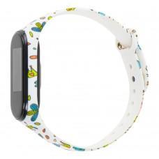 """Ремешок для Xiaomi Mi Band 3 силиконовый """"белый с цветами"""""""
