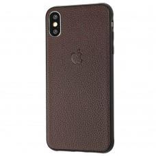 Чехол для iPhone Xs Max эко-кожа коричневый