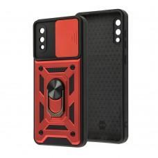 Чехол для Samsung Galaxy A02 (A022) Serge Ring Armor ударопрочный красный