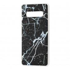 Чехол для Samsung Galaxy S10+ (G975) силикон marble черный