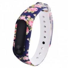 """Ремешок для Xiaomi Mi Band 3 / 4 силиконовый """"blue-pink flowers"""""""