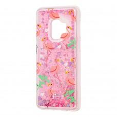 "Чехол для Samsung Galaxy S9 (G960) Блестки вода ""фламинго"""