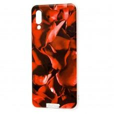 Чехол для Samsung Galaxy A02 (A022) лепестки роз красный