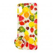 "Чехол для Samsung Galaxy A10 (A105) силикон + popsocket ""фрукты"""