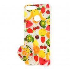 """Чехол для Huawei P Smart силикон + popsocket """"фрукты"""""""