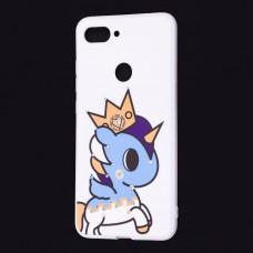"Чехол для Xiaomi Mi 8 Lite ""синий единорог с короной"""