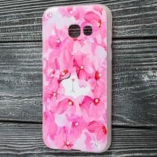 Чехол для Samsung Galaxy A3 2017 (A320) силиконовый с принтом малиновые цветы