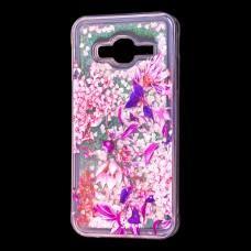 """Чехол для Samsung Galaxy J3 2016 (J320) вода  розовый """"розово-фиолетовые цветы"""""""