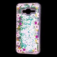"""Чехол для Samsung Galaxy J3 2016 (J320) вода светло-розовый """"цветы"""""""
