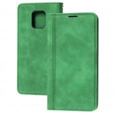 Чехол книжка для Xiaomi Redmi Note 9s / 9 Pro Business matte line зеленый