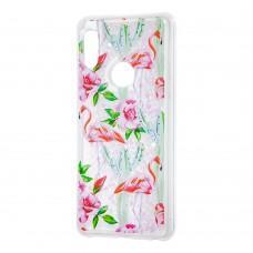 """Чехол для Xiaomi Redmi Note 5 Pro Блестки вода светло-розовый """"фламинго и кактусы"""""""