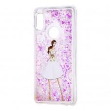 """Чехол для Xiaomi Redmi Note 5 Pro Блестки вода светло-розовый """"девушка в белом плать"""""""