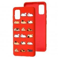 Чехол для Samsung Galaxy A41 (A415) Wave Fancy sleeping dogs / red