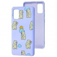 Чехол для Samsung Galaxy A41 (A415) Wave Fancy cute bears / light purple