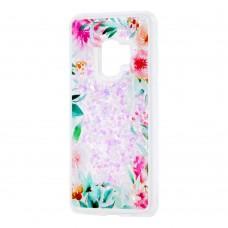 """Чехол для Samsung Galaxy S9 (G960) Блестки вода светло-розовый """"цветущие уголки"""""""