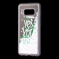 "Чехол для Samsung Galaxy S8 (G950) Блестки вода светло-розовый ""yes you can"""