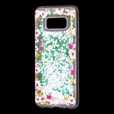 """Чехол для Samsung Galaxy S8 (G950) Блестки вода светло-розовый """"цветы"""""""