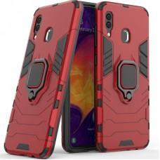 Чехол для Samsung Galaxy A20 / A30 Transformer Ring ударопрочный с кольцом красный
