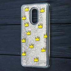 "Чехол для Xiaomi Redmi 5 Plus Блестки вода серебристый ""корона"""