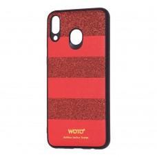 Чехол для Samsung Galaxy M20 (M205) woto с блестками красный