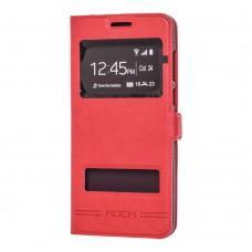 Чехол книжка для Huawei P Smart Rock с двумя окнами красный
