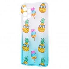 Чехол для Samsung Galaxy A52 Wave Sweet white / turquoise / pineapple