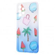 Чехол для Samsung Galaxy A52 Wave Sweet white / blue / palm