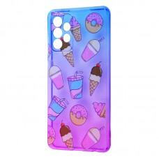 Чехол для Samsung Galaxy A52 Wave Sweet white / purple / cake