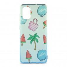 Чехол для Samsung Galaxy A71 (A715) Wave Sweet white / blue / palm