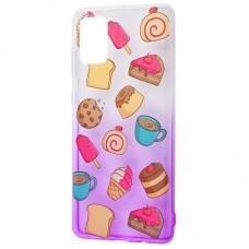 Чехол для Samsung Galaxy A71 (A715) Wave Sweet white / purple / cake