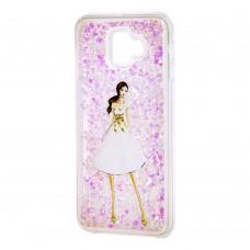 """Чехол для Xiaomi Redmi 6 Pro Блестки вода светло-розовый """"девушка в белом платье"""""""