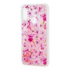 """Чехол для Xiaomi Redmi 6 Pro Блестки вода светло-розовый """"розовые цветы"""""""
