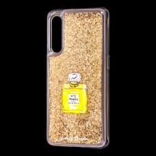 """Чехол для Xiaomi Mi 9 Блестки вода золотистый """"духи"""""""