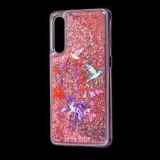"""Чехол для Xiaomi Mi 9 Блестки вода красный """"колибри"""""""