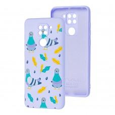 Чехол для Xiaomi Redmi Note 9 Wave Fancy pigeon with sunflower seeds / light purple