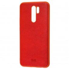 Чехол для Xiaomi Redmi 9 Leather cover красный