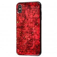 Чехол для iPhone Xs Max New мрамор красный с конфети