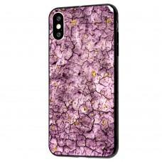 Чехол для iPhone Xs Max New мрамор фиолетовый с конфети