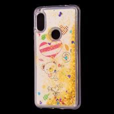 """Чехол для Xiaomi Redmi Note 6 Pro Блестки вода Fashion """"мишка"""""""