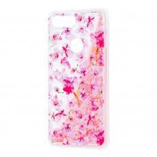 """Чехол для Xiaomi Mi 8 Lite Блестки вода светло-розовый """"розовые цветы"""""""